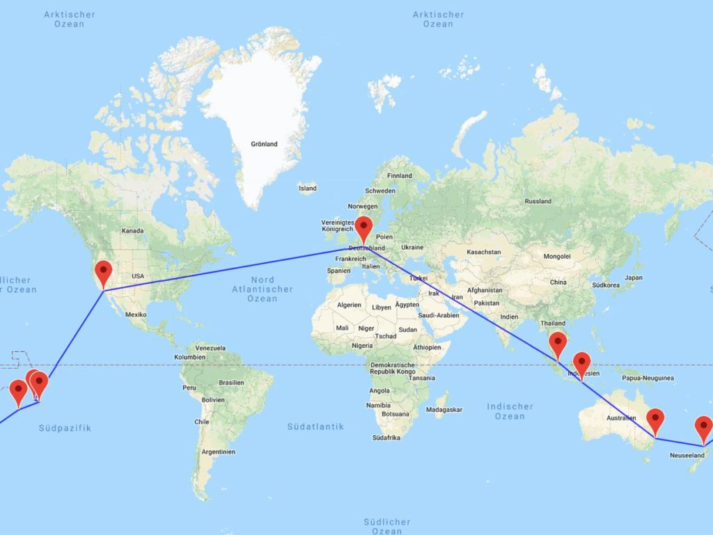 Singapur-Bali-Sydney-Auckland-Cook Islands-Papeete-Bora Bora-Los Angeles