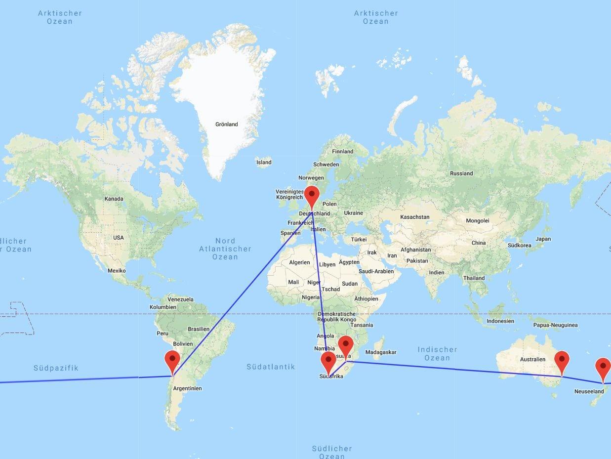 Kapstadt-Johannesburg-Sydney-Auckland-Santiago