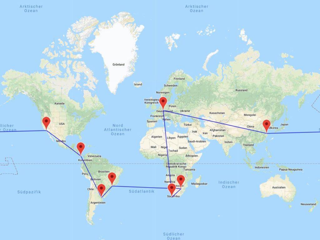 Kapstadt-Johannesburg-Sao Paulo-Buenos Aires-Panama City-Los Angeles-Shanghai