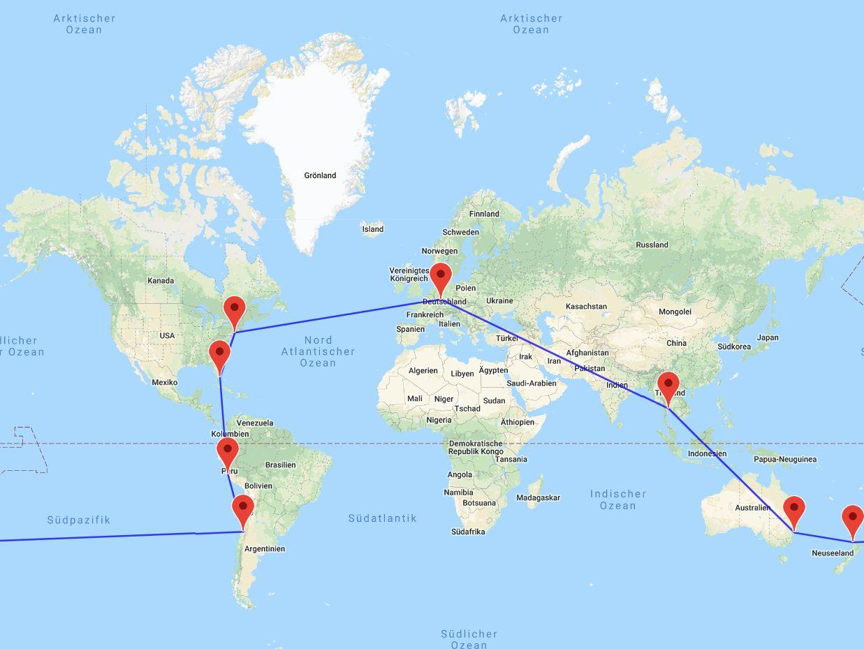 Bangkok-Sydney-Auckland-Santiago-Lima-Miami-New York