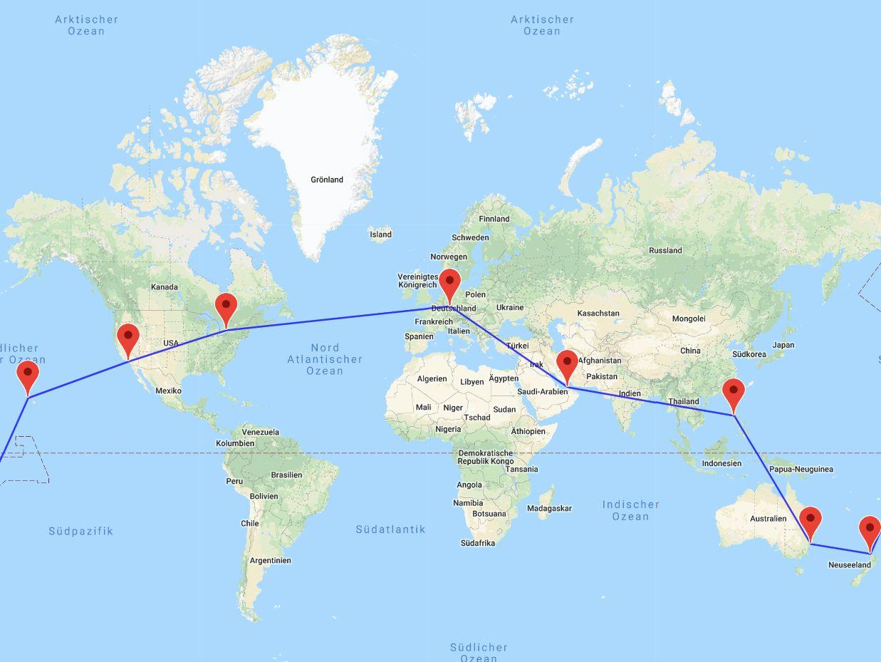 Dubai-Manila-Sydney-Auckland-Hawaii-Los Angeles-Toronto