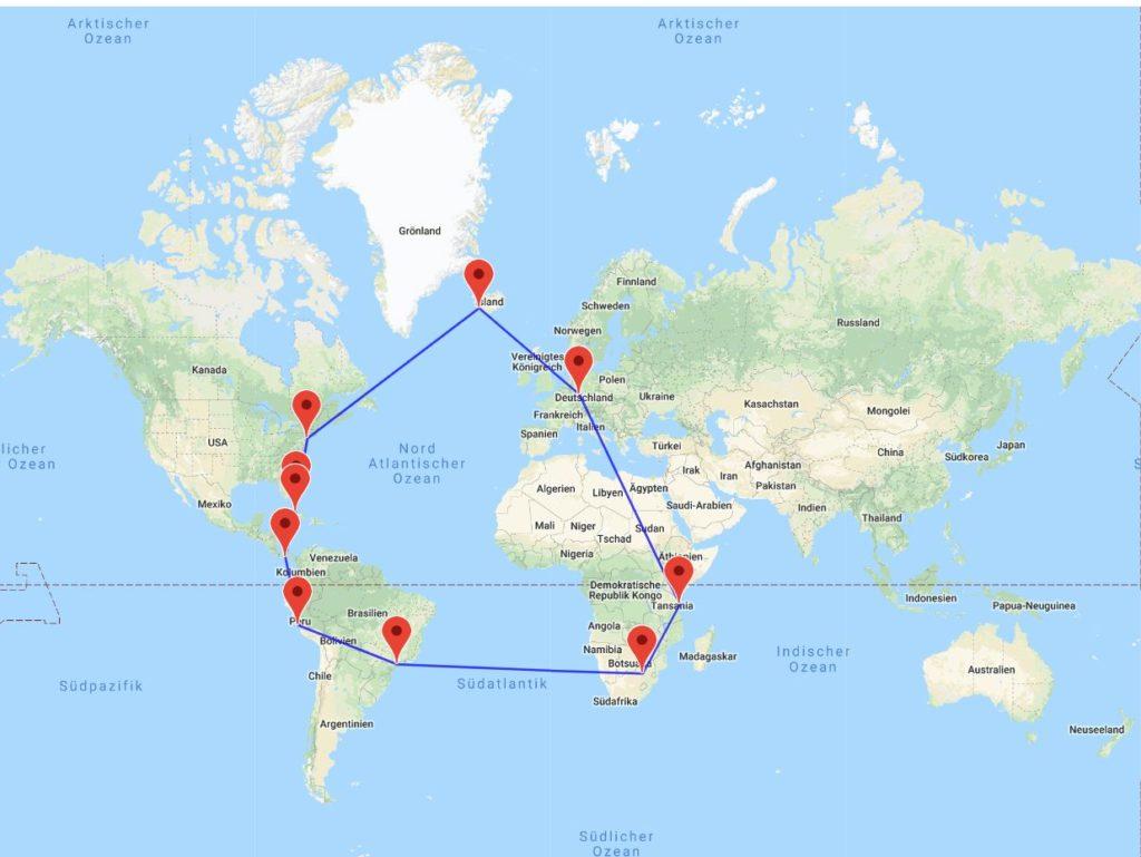 Sansibar-Johannesburg-Sao Paulo-Lima-Panama City-Havanna-Bahamas-New York-Reykjavik