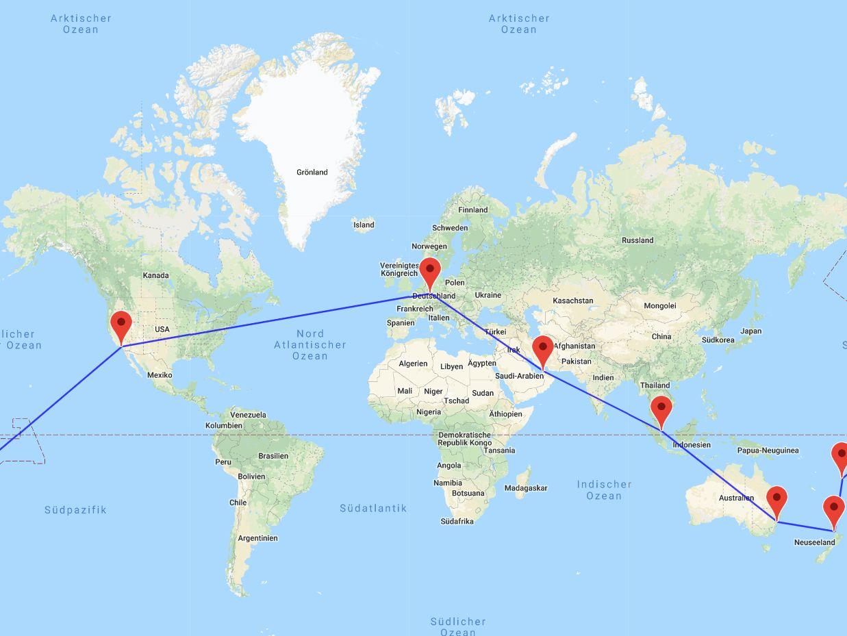 Dubai-Singapur-Sydney-Auckland-Fidschi-Los Angeles