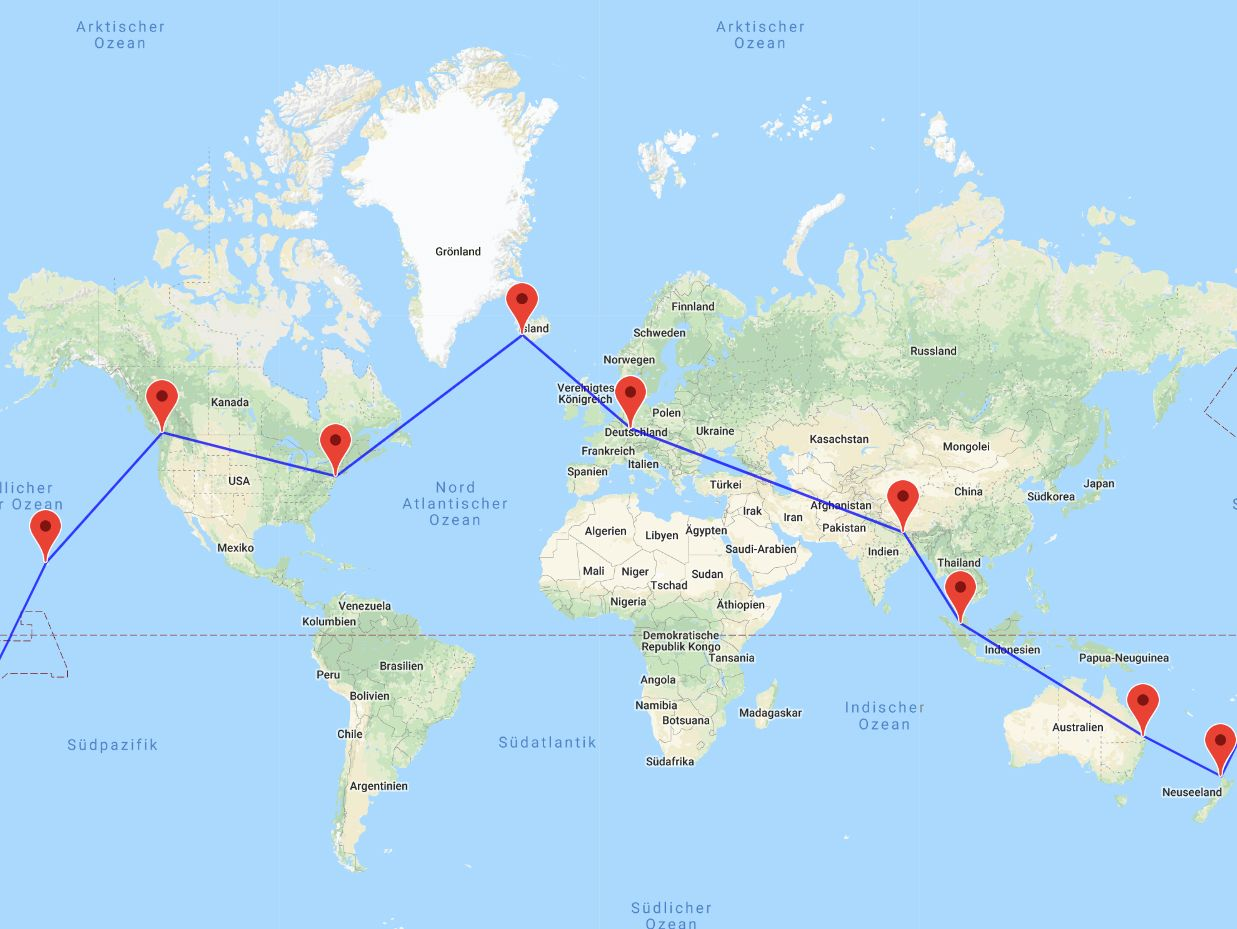 Kathmandu-Kuala Lumpur-Brisbane-Auckland-Honolulu-Vancouver-New York-Reykjavik