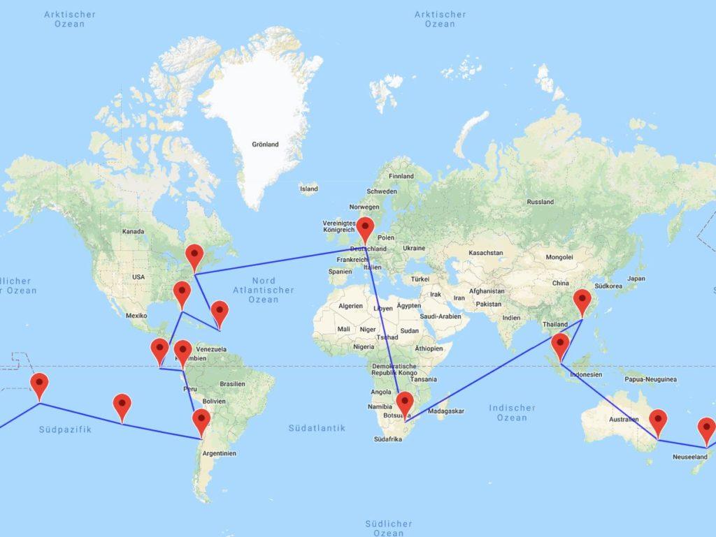 Johannesburg-Hong Kong-Singapur-Sydney-Auckland-Tahiti-Osterinsel-Santiago-Guayaquil-Galapagos-Miami-Antigua-New York