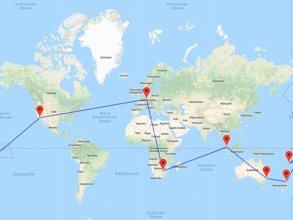 Johannesburg-Singapur-Sydney-Auckland-Samoa-Fidschi-Los Angeles